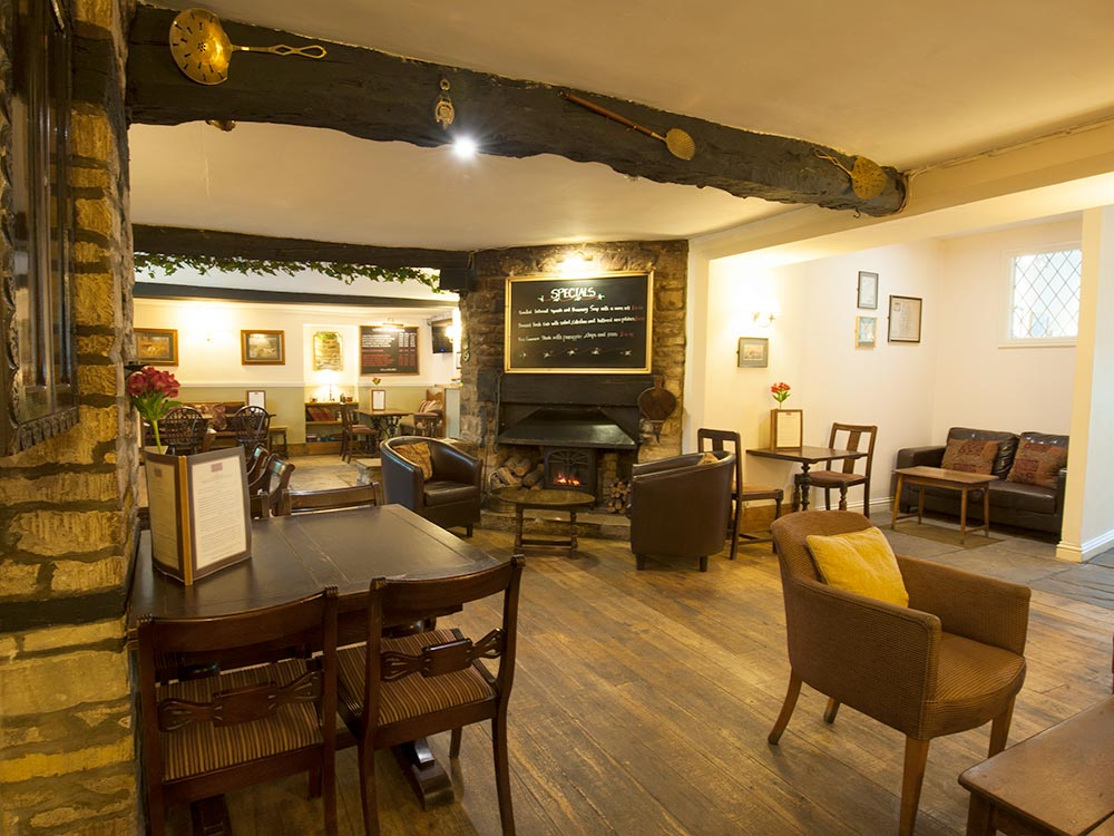 The bar and lounge area at the Corinium Hotel and Restaurant in Cirencester